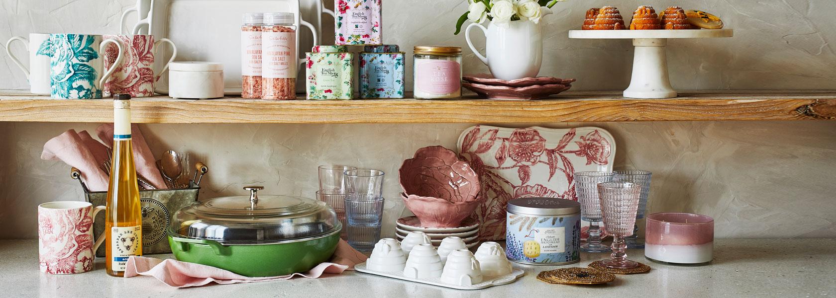 scented candles, tins of tea, Nordic Ware beehive pan, Staub Heritage pan