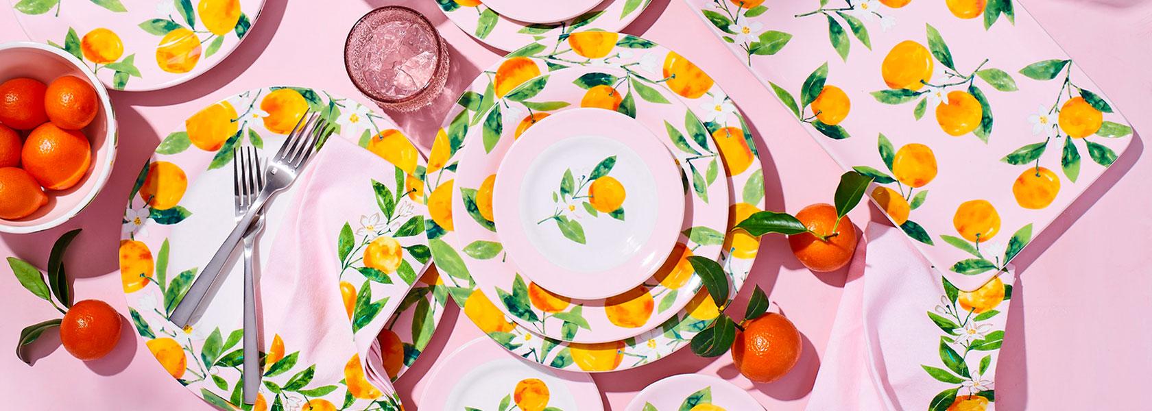 Lemon Dinnerware on pink tablecloth