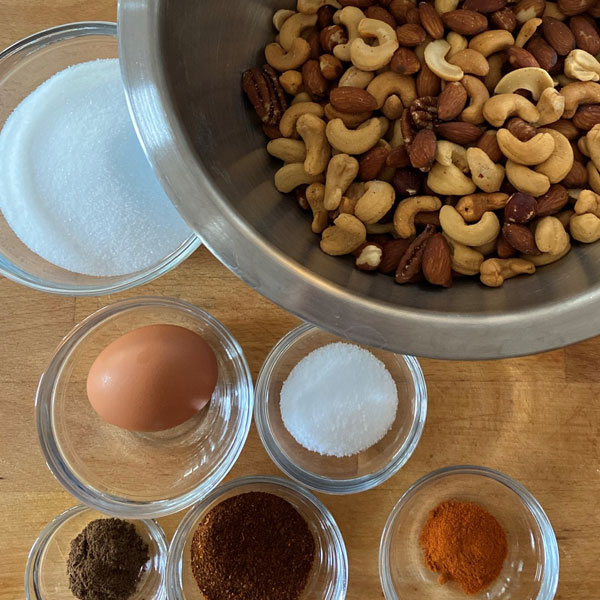 ingredients for Spiced Nuts