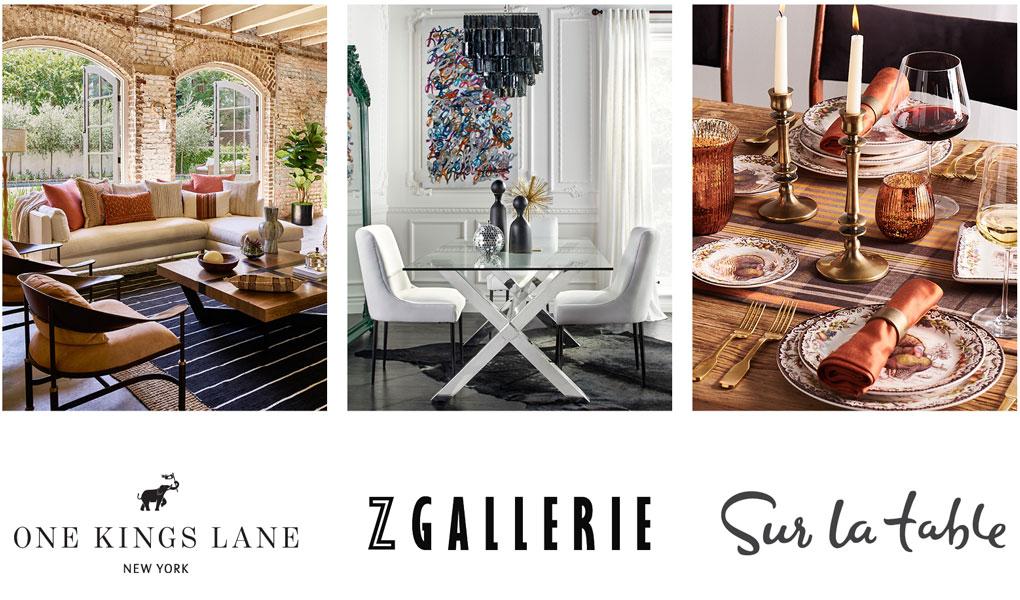 home furniture, decor and dinnerware