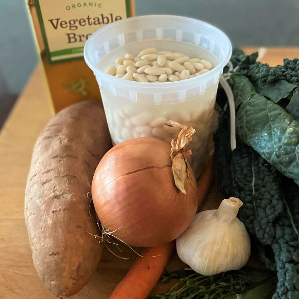 ingredients for Kale and White Bean Soup