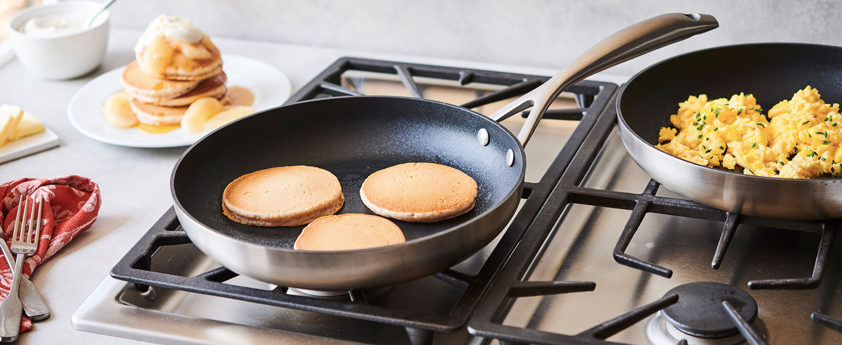 Scanpan CS+ nonstick skillet with pancakes